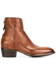 Raparo Textured Rear Zip Boots Brown