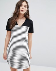 Vila Striped T Shirt Dress Black Snow White