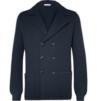 Tomas Maier Blue Double Breasted Knitted Wool Blazer Navy