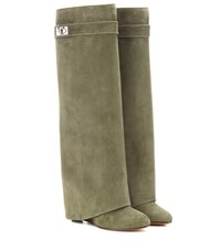 Givenchy Pant Shark Lock Suede Wedge Boots Green