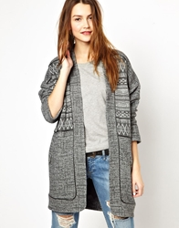 Asos Light Weight Coat With Pattern Panels Grey