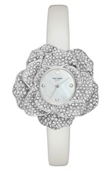 Kate Spade Women's New York Crystal Rose Leather Strap Watch 26Mm Silver Mother Of Pearl