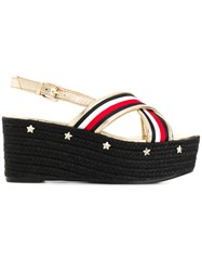 Tommy Hilfiger Star Embossed Flatform Sandals Metallic