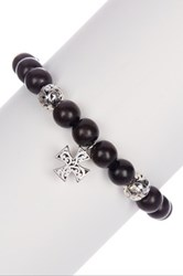 Lois Hill Sterling Silver Wooden Bead Cross Bracelet No Color