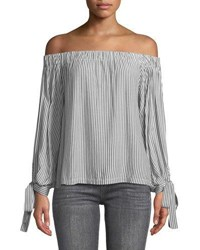 7 For All Mankind Off The Shoulder Tie Cuff Striped Top Gray White