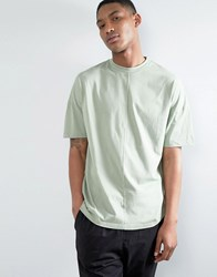 Asos Oversized T Shirt With High Neck And Cut And Sew Seams Resin Green