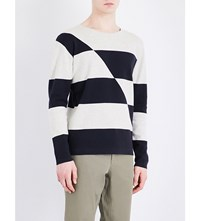 Closed Broken Stripe Knitted Cotton Jumper Light Sand