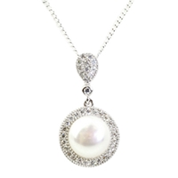 A B Davis Sterling Silver Round Pearl Drop Pendant