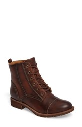 Sofft Women's Belton Cap Toe Combat Boot Whiskey Leather