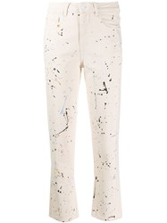 Closed Paint Splatter Straight Cropped Jeans Neutrals