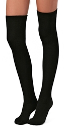 Plush Fleece Lined Thigh Highs Black
