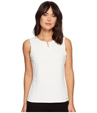 Ivanka Trump Matte Jersey Top With Hardware Bead Ivory Clothing White