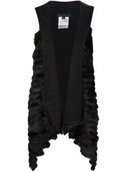 Jocelyn Rabbit Fur Asymmetric Gilet Black