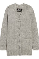 Nlst Fisherman Oversized Chunky Knit Cardigan Light Gray