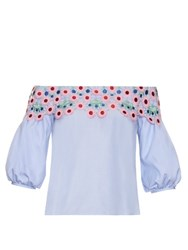 Peter Pilotto Pallas Off The Shoulder Blouse Light Blue