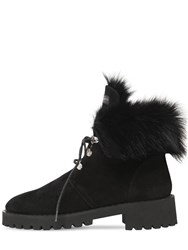 Giuseppe Zanotti 20Mm Fur And Suede Combat Boots Black