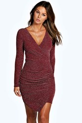 Boohoo Wrap Front Ruched Metallic Bodycon Dress Berry