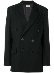 Zadig And Voltaire Fashion Show Oversize Double Breasted Coat Black