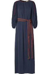 Tory Burch Belted Gathered Jersey Maxi Dress Navy