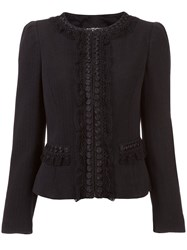 Boutique Moschino Lace Trim Fitted Jacket Black