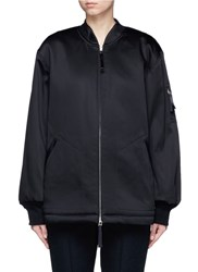 Alexander Wang Water Resistant Padded Satin Oversized Bomber Jacket Black