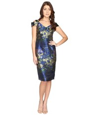 Maggy London Water Lily Brocade Jacquared Off The Shoulder Sheath Dress Navy Green Women's Dress