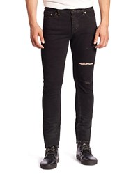 Yves Saint Laurent Ripped Straight Fit Jeans Black