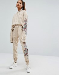 Criminal Damage Baggy Sweatpants With Leg Embroidery Co Ord Nude Beige