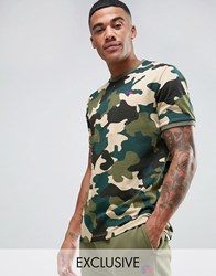 Russell Athletic T Shirt In Camo Green Pink