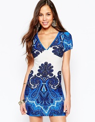 Pussycat London Shift Dress In Wallpaper Print Blue