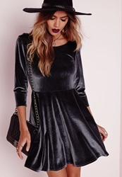 Missguided 3 4 Sleeve Velvet Skater Dress Shadow Grey