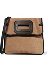 Tomas Maier Fold Over Leather Trimmed Suede Shoulder Bag Beige