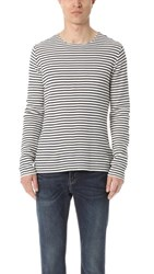 Vince Raw Edge Stripe Long Sleeve Crew Shirt Off White Navy