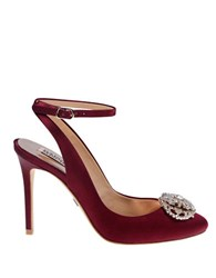 Badgley Mischka Darwyn Embellished Satin Pumps Dark Red
