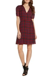 Willow And Clay Plaid Ruched Sleeve Wrap Dress Wine