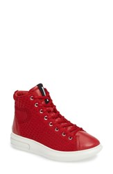 Ecco Women's Soft 3 High Top Sneaker Chili Red Leather