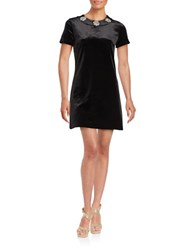 Michael Michael Kors Plus Embellished Velvet Short Sleeve Shift Dress Black