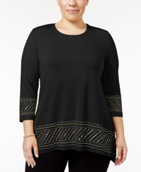 Jm Collection Plus Size Embellished Handkerchief Hem Top Only At Macy's Deep Black