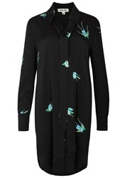 Diane Von Furstenberg Black Bird Print Stretch Silk Shirt Dress