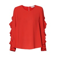 Paisie Ruffle Sleeved Top In Red