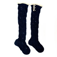 Lowie Mohair Lacy Knee Socks Navy