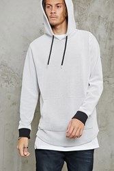 Forever 21 Contrast Perforated Hoodie White Black
