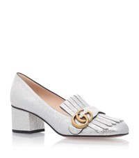 Gucci Marmont Fringed Loafers 55 Female Silver