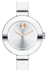 Movado 'Bold' Crystal Accent Bangle Watch 25Mm Silver
