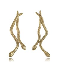 Bernard Delettrez Snakes Bronze Earrings Gold