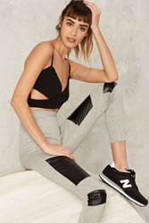 Nasty Gal Right Patch At Ya Zip Leggings Gray