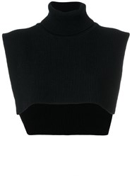 Federica Tosi Ribbed Roll Neck Overlayer Top Virgin Wool Black
