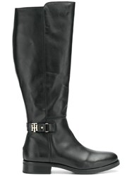 Tommy Hilfiger Mid Calf Buckle Boots Black