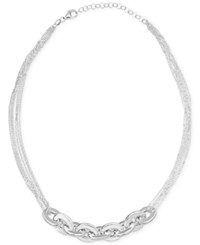 Giani Bernini Multi Chain Link Statement Necklace In Sterling Silver