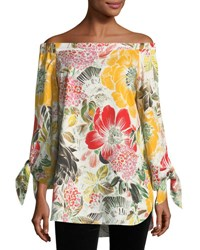 Fuzzi Floral Print Off The Shoulder Poplin Tunic Sole